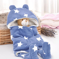 Wholesale baby fleece sleeping bags - 14 Colors Baby Blankets Newborn Swaddling Toddler Sleeping Bags Stroller Cart Swaddle Fleece Kangaroo Sleep Sack Carrier CCA8719 20pcs