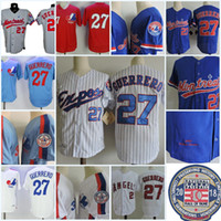Wholesale Baseball Montreal - Mens Montreal Expos VLADIMIR GUERRERO 2018 HOF patch Jerseys Stitched 2002 #27 VLADIMIR GUERRERO Montreal Expos Throwback Jersey S-3XL