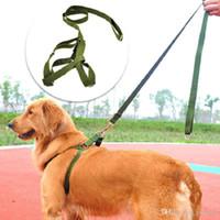 grüne nylonhunde führen großhandel-Army green nylon Mittelgroße Hundeleine und Trapezset Durable big dog Brustgurt Lead Leashes Pet Seilzugkette