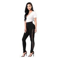 ingrosso jeans scavavano il merletto nero-Hot Sell Jeans Lace Up Pants per le donne Sexy Skinny Hole Jeans Side Bandage / Hollow Out Pants Black Stretch Vita alta Night Clubwear