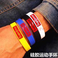 Wholesale bracelets mix order resale online - New Fashion fashion collocation supr silicone bracelet Wristband Surf Mix Order Bracelet Gift