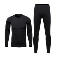 Wholesale motorcycle warm winter pants - Men Motorcycle Fleece Thermal Outdoor Sport Underwear Skiing Motocross Winter Warm Base Layers Tight Long Johns Tops & Pants Set