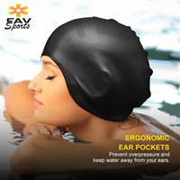 Wholesale waterproof hats women - Elastic Waterproof Swimming Cap Sports Long Hair Cover Ears Protect Anti-slip Swim Pool Hat For Adult Silicone Cap