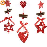 украшения из красной звезды оптовых-5 шт./лот DIY Красный Рождество SnowflakesStarTree деревянные подвески украшения главная рождественская вечеринка Xmas Tree детские подарки украшения Y18102609
