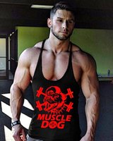 Wholesale top sexy wear men - Wholesale- Men Muscle Dog Design High Quality Sweat Tank Top Stringer Muscle Bodybuilding Fitness Vest Sleeveless Clothes With O-Neck Wear