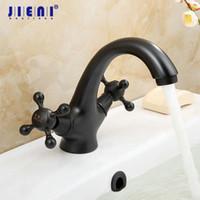 Wholesale Black Faucet Bath - Black Double Handle Bathroom Basin Mixer Tap Sink Faucet Oil Brass Bronze Vanity Faucet Bath Mixer Tap