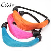 Wholesale Elastic Pearl Ring - New Mixed Colours Fluorescent Candy Wig Stretchy Elastic Hair Bands Rope Ring Hair Extensions Hoop Hair Bands For Women Fashion Girls Gifts