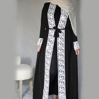 robes musulmanes islamic achat en gros de-Malaisie Open Abaya Robe turque Vêtements islamiques Femmes Dentelle épissée Couture Dentelle Mode Musulman À manches longues Lâche Grande Swing Dress