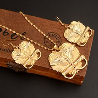 joyas de niños llenas de oro al por mayor-9 k Yellow Solid Gold Filled jewelry Bird of Paradise Colgante Collares earrins para Mujeres Papua New Guinea girls kids party
