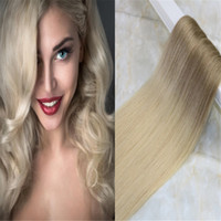 Wholesale double tape hair extensions pieces for sale - Tape in Ombre Hair Extensions PU Skin Hair Weft Balayage Color Light Brown To Blonde Color g per Package