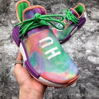 Wholesale top labs - 2018 Top Human RACE Pharrell X ADIDAS NMD Hu Trail Holi Running Sneakers For Men Womne Chalk Coral Flash Green Lab Purple Sports Shoes