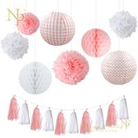 ingrosso lanterne di carta blu-Nicro matrimonio compleanno festa carta fai da te arredamento set rosa / blu / rosso / verde lanterna a nido d'ape palla pompon fiore nappa ghirlanda # set01