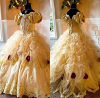 vestido de conto de fadas das meninas venda por atacado-Princesa Meninas Pageant Vestido Handmade Flores De Cristal Apliques vestido de Baile Vestido de Aniversário Da Criança Conto de Fadas Vestidos Da Menina de Flor