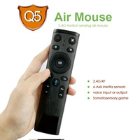 teclado de voz al por mayor-El último Air Mouse Keyboard Q5 2.4G RF Wireless Mouse 6-Axis Sensors 16keys Control remoto por voz para laptop Android Box Smart Tv Tablets