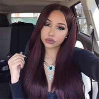 Wholesale long human hair burgundy wig resale online - For Black Women J Wine Red Full Lace Human Hair Wigs Straight Peruvian Burgundy Hair Glueless Lace Front Wigs Middle Part Density
