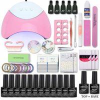 Wholesale uv gel acrylic nails online - Nail Set with UV Led Lamp W Color Nail Gel Polish Acrylic Nail Kit Base Top Coat Gel Varnish Manicure Tools Set