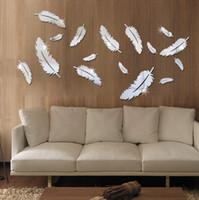 tapete gespiegelte wand großhandel-Feder Entworfen 3D Spiegel Wandaufkleber 3D Federn Spiegel Wandaufkleber Tapete Acryl DIY Abziehbild Wandbild Raumdekoration
