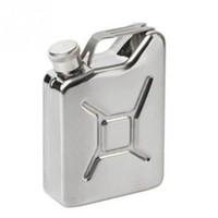 latas de combustible al por mayor-Alta calidad Jerry Can Hip Flask 5 oz Acero inoxidable Fuel Petrol Can Style Whisky Liquor NUEVO Color Plata