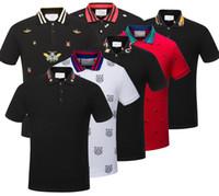 Wholesale T Shirt Design Army - polo shirt fashion Short Sleeved animal embroidery polo t shirts men tee design printing poloshirts clothes Medusa tops