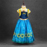 yılbaşı için dondurulmuş toptan satış-Dondurulmuş Sahne Performansı Elbiseler Kızlar için Çocuk Ellas Kostümleri çocuk Cadılar Bayramı Noel Cosplay Kar Prenses Avrupa Yaz Etek 1-9 T
