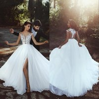 Wholesale sheer sleeves for under dresses for sale - Group buy 2018 Beach Cheap Plus Size Wedding Dresses Cap Sleeves Bateau Neck A Line Split Side Chiffon Backless Bridal Dress Under For Maternity