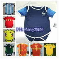 Wholesale football babies - 2018 World Cup FR Baby Jersey 18 19 POGBA MBAPPE GRIEZMANN DEMBELE 6-18 months maillot de foot Baby football jersey