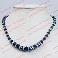 colar de contas de cristal azul escuro venda por atacado-Todo saleFashion Escuro Azul Contas de Cristal Facetado Vidro Fecho Magnético Colar 45 CM one piece 201