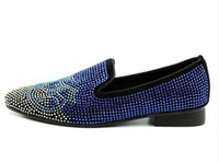 zapatos casuales planos azul real al por mayor-2018 Hombres Slip-on Mocasines Royal Blue Slipper Flats Rhinestone Crystal Luxury Hecho a mano Mocasines Zapatos casuales