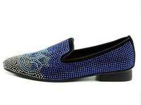 chaussures de sport plates bleu royal achat en gros de-2018 Hommes Slip-sur Mocassins Royal Bleu Slipper Appartements Strass Cristal De Luxe À La Main Mocassins Casual Chaussures