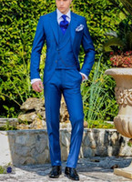 Wholesale thin lapel piece suits - Custom blue men's suits, tailored suits, the groom dress custom men marry suits, thin body of men (coat + pants + vest)