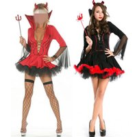 Wholesale vampires women costumes for sale - Carnival Hot Black Devil Costume Women Vampire Costume Cosplay Sexy Adult Halloween Costumes for Women Red Fancy Party Dress