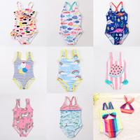 baignoire design achat en gros de-27 motifs bambin maillots de bain bébés filles maillots de bain licorne flamingo dinosaur pastèque flore arc en ciel rayé imprimé Costumi da Bagno