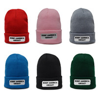 Wholesale new knitted hat for sale - Group buy New Trump Winter Hat Knitting Trump Beanies KEEP AMERICA GREAT Hot Sale Winter Warm Hats Fashion Beanies MMA1016