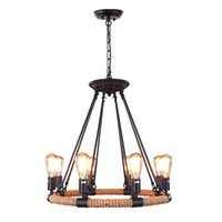 Wholesale edison chandelier light pendant lamps for sale - Vintage Rope Rustic Chandeliers light Pendant Lighting Chandelier Edison Bulb Light Loft Retro Industrial Lamp for Kitchen Bedroom
