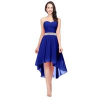 121a7a122 Vestidos de dama de honor azul real Chaleco con cuentas de novia alto bajo  con cordones Volver Vestidos de fiesta de boda modesto con gasa barato SD400