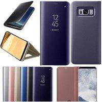 flip cover schlaf großhandel-Für S9 Smart Fall Luxus Beschichtung Spiegel Fall Clear View Smart Flip Phone Cases Cover Schlaf aufwachen mit Ständer für Samsung S8 S9 plus Hinweis 8