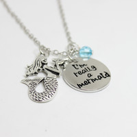 "Wholesale crystal mermaid necklaces - 12pcs lot little mermaid Inspired necklace ""I'm Really A Mermaid""crystal charm necklace antique silver Mermaid charm Pendant Necklaces"