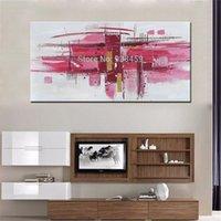 modern soyut akrilik boyama toptan satış-Nuh Sanat Büyük Soyut Pembe Duvar Sanatı El Boyalı Modern Akrilik Yağlıboya Tuval Üzerine Oturma Odası Dekorasyon için Çerçevesiz