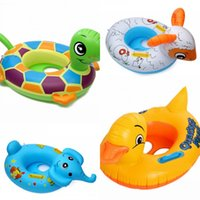 Wholesale boat items - Animals Inflatable Float PVC Swimming Seat Ring With Handle Children Lifestroke Circle Durk Elephant Sheep Tortoise 6lx W