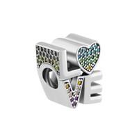pulsera de pandora multi encanto al por mayor-Se adapta a los encantos Pulseras de Pandora 2018 Verano Multi-Color Love Charm beads Original 925 Sterling Silver Charm DIY Joyería para las mujeres que hacen