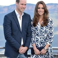 ingrosso abito blu lungo di kate middleton-Kate Middleton 2019 Abito semplice con stampa blu autunnale Elegante abito da donna sottile di alta qualità per occasioni formali