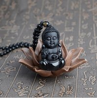 Wholesale red heart doll for sale - Group buy Factory direct natural obsidian baby Buddha pendant children s necklace Sakyamuni doll Buddha crystal jewelry