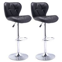 Wholesale Set of Bar Stools Leather Modern Hydraulic Swivel Dinning Chair Barstool Black