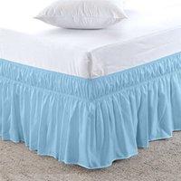 baskılı yatak örtüleri toptan satış-Katı baskılı polyester düz renk elastik yatak etek yatak yüzeyi beş boyut önlük yatak örtüsü dantel yatak etek