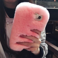 Wholesale fluffy covers - Rabbit Hair Case Bling Diamond Fluffy Animal Fur Cover For iPhone X 8 8P 7 7P 6 6S 6P 6SP Free Shipping