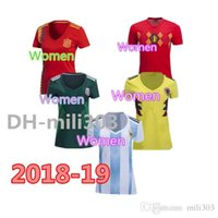 Wholesale ladies white uniform shirt - WOMEN 2018 World Cup Colombia Girl soccer Jersey Colombia Lady Spain Argentina Japan Belgium Mexico Germanyes Soccer uniform Football Shirt