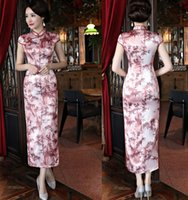 Wholesale silk long cheongsam - 2018 Traditional Chinese Cheongsams Long Silk Satin High Neck Printed Women Sexy Qipao Formal Gowns For Special Occasions Cheongsam Cheap