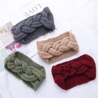 ingrosso scalda orecchio intrecciato-1PC Fashion Women Braid Cable Knitted Headband Crochet Winter Turbante Warm Headwrap Wide Hair Band Ear Warmer Accessorio