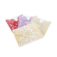 einladungskarten designs großhandel-Fünf Farben Hochzeitseinladungen Ausgehöhlte Design-Grußkarte in Herzform Exquisite Papiersegenkarten für Valentinstag 1 45ym B