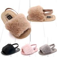 sohle pu sandale großhandel-Kind-Kind-weiche Sohle-Kunst-Pelz-Schuh-Mädchen-Kind-Art- und Weiseplüsch-Dia-Sandelholz-Mädchen-Kleinkind-Prinzessin Antiskid Elastic Sandal Baby